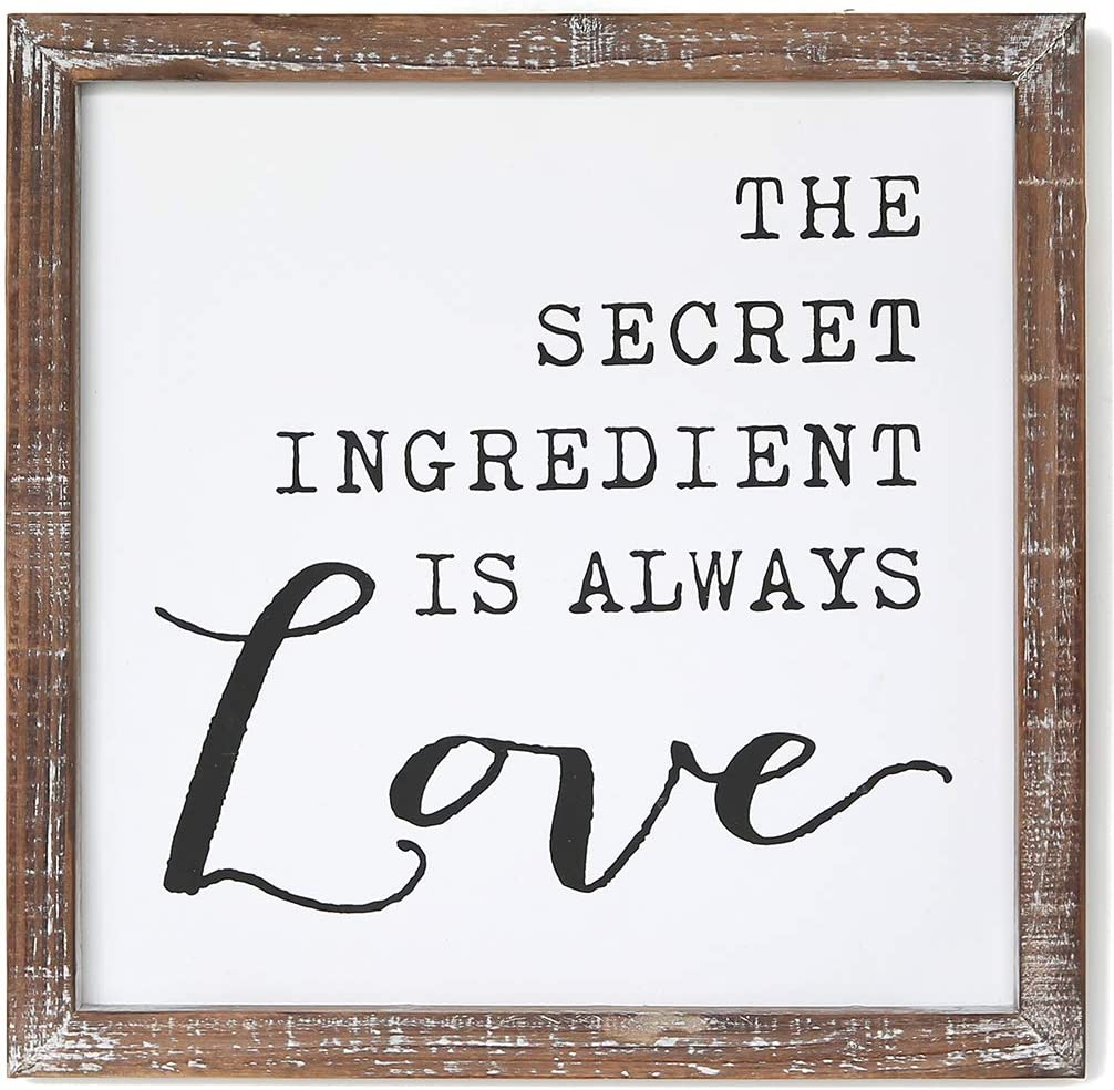 SANY DAYO HOME The Secret Ingredient is Always Love Inspirational Wall Signs 12 x 12 inches Rustic Wood Framed Modern Farmhouse Hanging Art for Home, Kitchen, Bathroom Decor