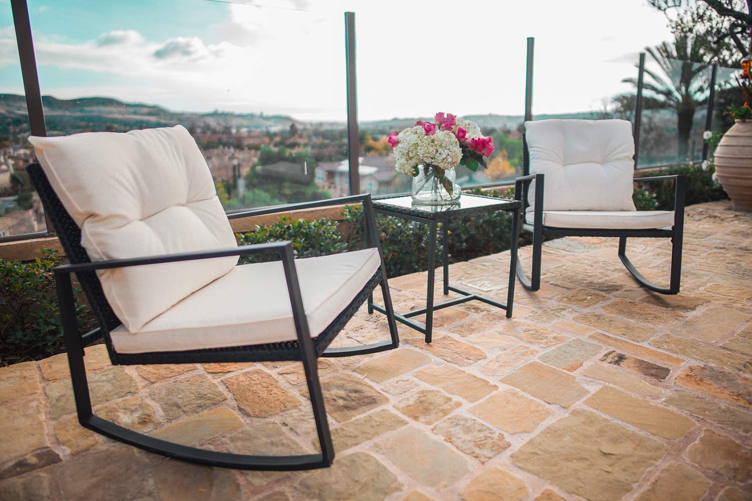 SUNCROWN Outdoor 3-Piece Rocking Bistro Set Black Wicker Furniture-Two Chairs with Glass Coffee Table Beige Cushion