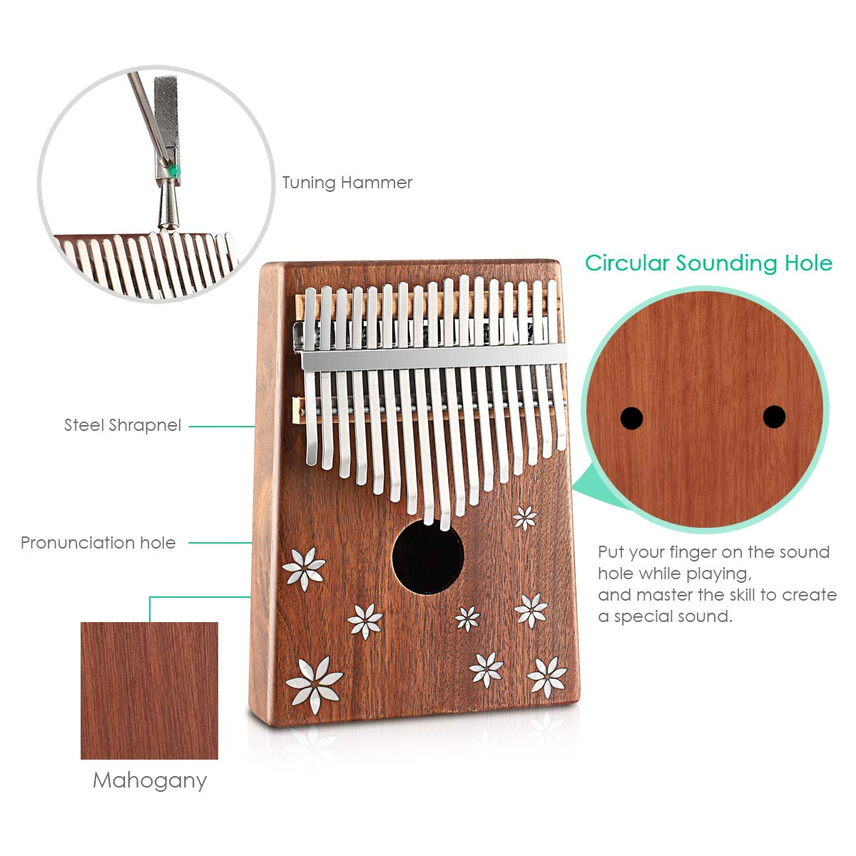 Kalimba 17 Key Thumb Piano Finger Piano Mahogany Wood Body Mbira 17 Tone Musical Instrument for Kids Gift Beginner Musician with Music Book Tune Hammer and Bag by MIFXIN (Image #2)