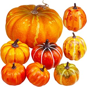 Package of 8 Pieces Assorted Orange Artificial Pumpkins Fall Party Table Fireplace Decor Wreath Craft Harvest Halloween Pumpkins Thanksgiving Centerpieces