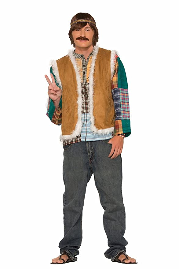 60s -70s  Men's Costumes : Hippie, Disco, Beatles Forum Novelties Mens Hippie Faux Fur Trimmed Vest Neon Standard $27.72 AT vintagedancer.com
