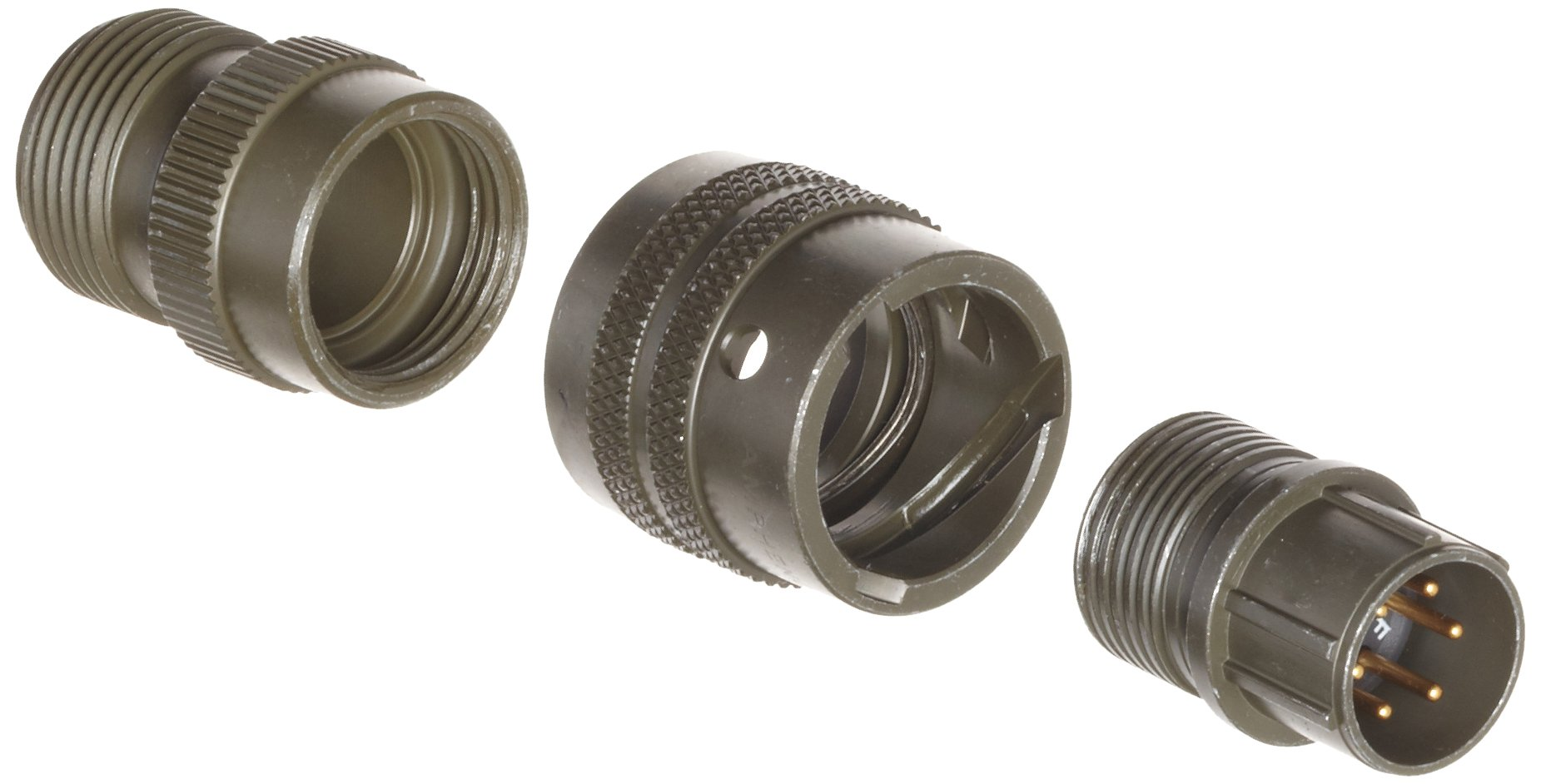 Amphenol Industrial PT06A-10-6P Circular Connector Pin, General Duty, Non-Environmental, Bayonet Coupling, Solder Termination, Straight Plug, 10-6 Insert Arrangement, 10 Shell Size, 6 Contacts