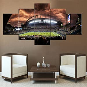Home Decor for Men The Seattle Seahawks HD Prints on Canvas NFL Paintings Modern Pictures 5 Panel Artwork House Decorations for Living Room,Giclee Framed Gallery-wrapped Ready to Hang(60''Wx32''H)