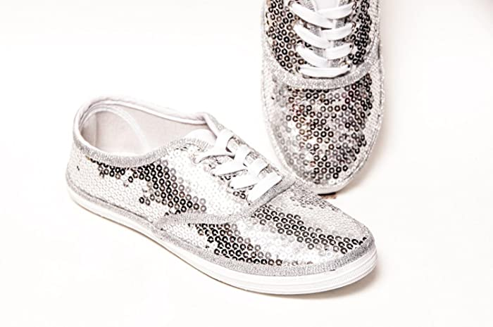5b0227265b4d Image Unavailable. Image not available for. Color: Women's Sterling Silver  Sequin Canvas Oxford Sneakers