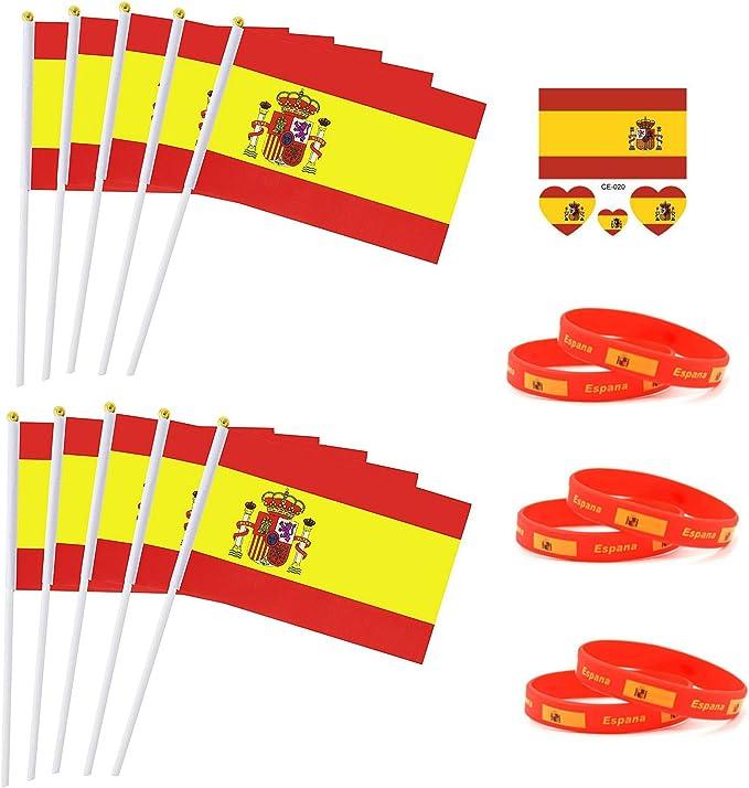 Jun - Pack de 10 banderas de mano de España con 10 mini pegatinas de silicona + 6 pulseras de fútbol, suministros de animación para 2018 Rusia Mundial Copa Fútbol Fans Fútbol