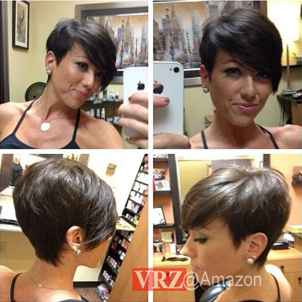 VRZ Short Human Hair Wigs Pixie Cut Black Wig with Side Bang Medium Cap  Size None Lace wig Natural Color (XJK)