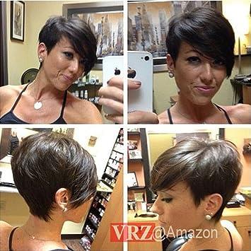 Amazon.com : VRZ Short Human Hair Wigs Pixie Cut Black Wig with ...