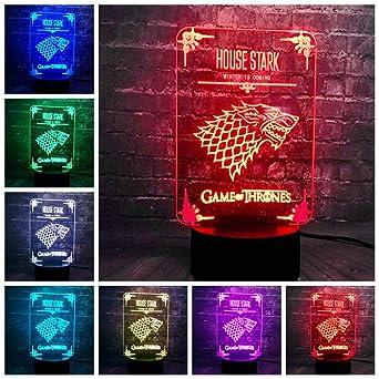 HLDWMX 3D Luz de la noche Lámpara óptica Lámpara de mesa Luz del ...