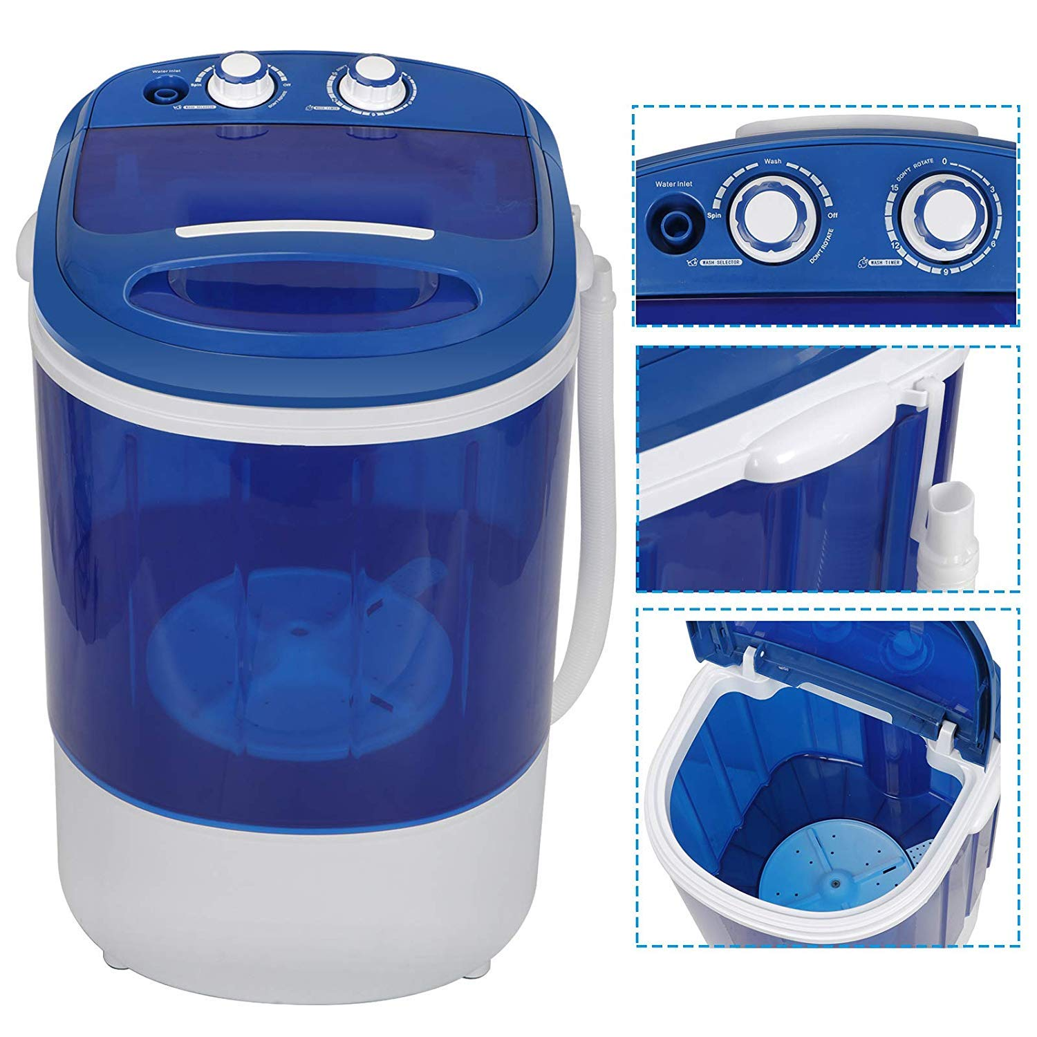 HomGarden 8.8lbs Capacity Mini Washing Machine for Compact Laundry, Portable Single Translucent Tub Washer with Timer Control and Spin Cycle Basket by HomGarden