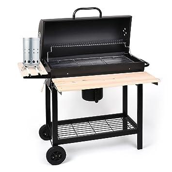 Oneconcept Beefbutler Set Parrilla de Madera BBQ ahumadero + Encendedor eléctrico 350W (Gran Superficie de Grill asado, fácil y rápido de encender, 3 ...