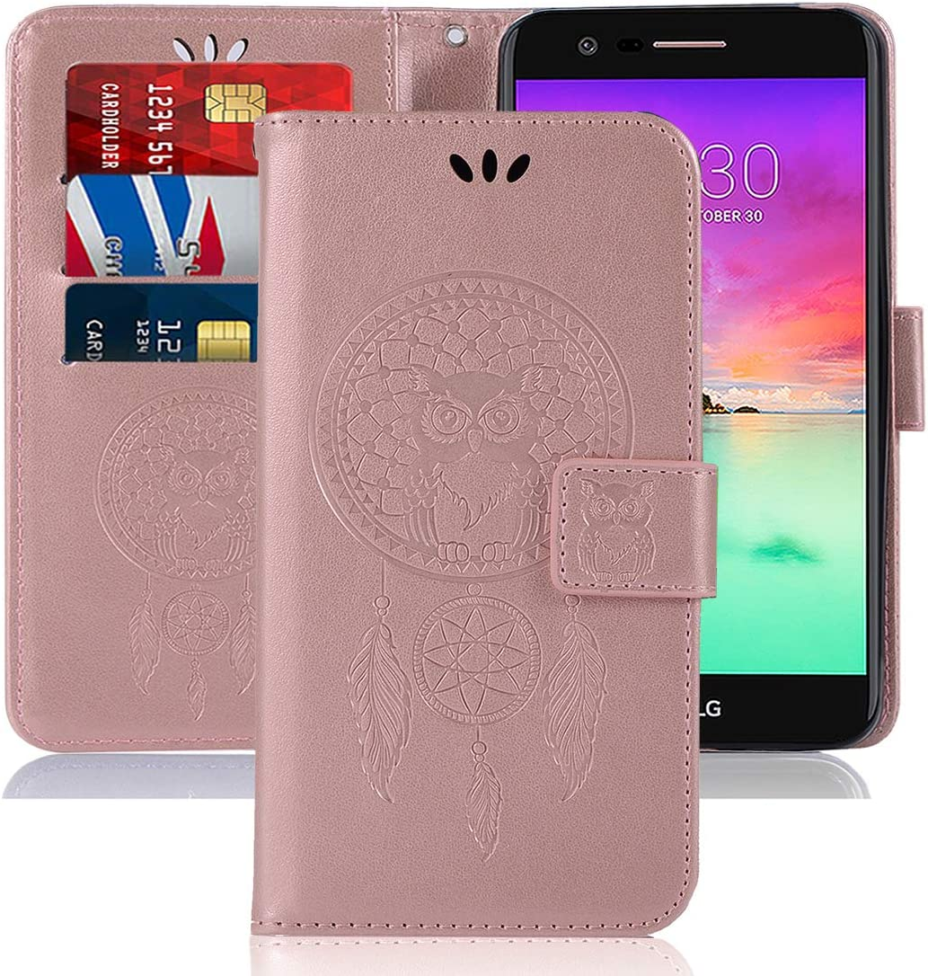 Sidande LG K20 V/LG K20 Plus/LG Harmony/LG Grace/LG V5 / K10 2017 Case, [Wrist Strap] Owl PU Leather Wallet Flip Protective Phone Case Cover with Card Slots for LG K10 2017 (Rose Gold)