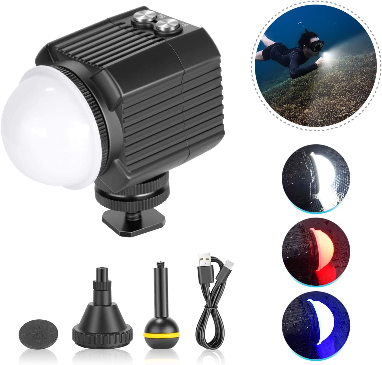 Neewer Underwater Lights Dive Light High Power Fill-in Light 130 Feet Waterproof LED Video Light with 5 Modes Compatible with Yuneec Drones DJI Osmo Pocket Osmo Action GoPro 7//6//5 Canon Nikon DSLRs