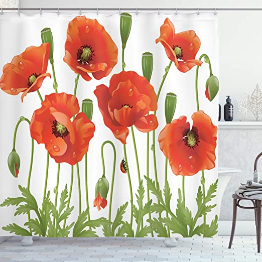 Floral Shower Curtain Blossoms Ladybugs Spring Print for Bathroom