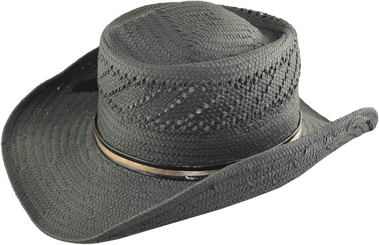 The G Cap G Mens Straw Cowboy Hat Black