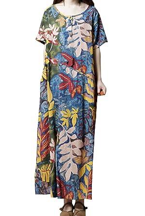 Sommer Damen Lange Kleid Freizeit Locker Blumen Shirt Kleider Strandkleider  Blusenkleider Mode Rundhals Kurzarm Kleid Partykleider 0e06214dbe