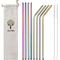 """ALINK Stainless Steel Straws, 10.5"""" Long Reusable Replacement Metal Straws for 20 30 OZ Yeti Tumbler, RTIC, Tervis, Ozark Trail, Starbucks, Mason Jar, Set of 8 with Cleaning Brush,Rainbow Color"""