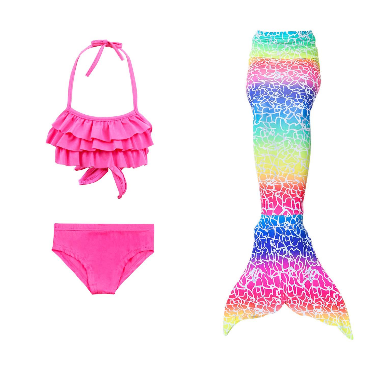 0def548ba96cc2 Bademode Le SSara Mädchen Cosplay Kostüm Badebekleidung Meerjungfrau Shell  Badeanzug 3pcs Bikini Sets Bekleidung 110, D-Regenbogen