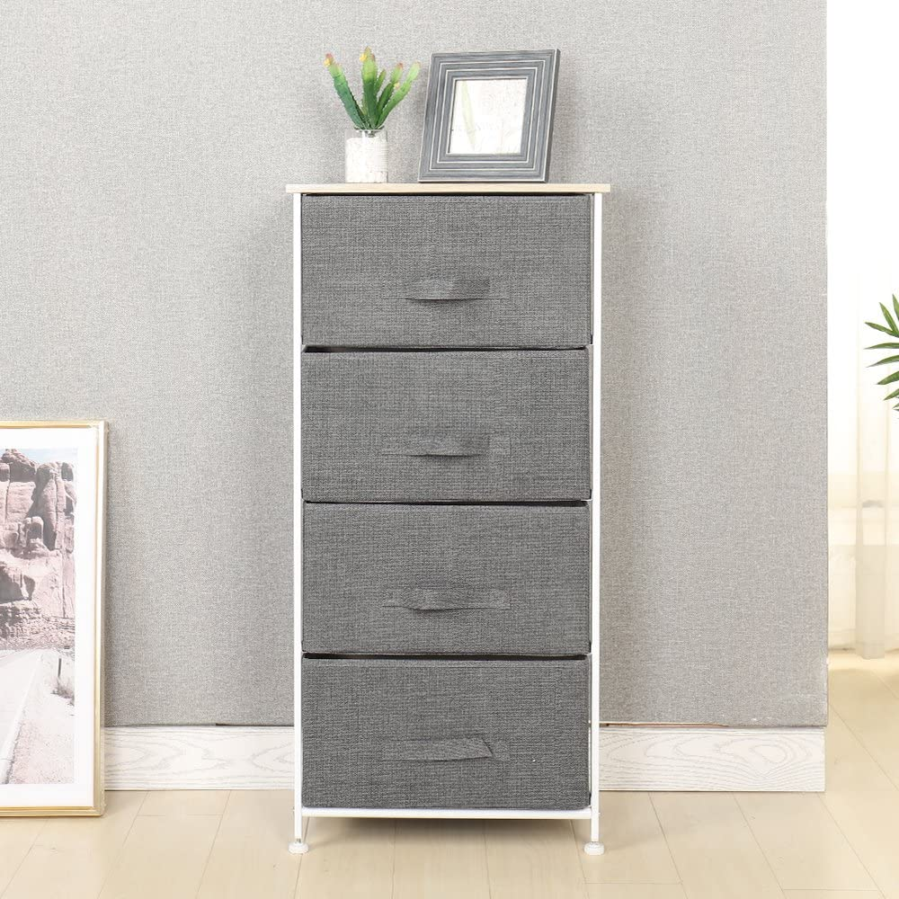 Soges Fabric 4-Drawer Storage Organizer Unit for Bedroom, or Play Room with  Fabric Bin Storage Unit,Grey 4N-GY-CA