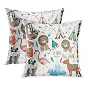 Emvency Throw Pillow Covers 20 x 20 Inches Set Of 2 Colorful Fox Cute Woodland Tribal Animals Volume Sloth Baby Nursery Deer Feather Tee Pillow Case Decorative Cushion Cover Two Sides Print Pillowcase