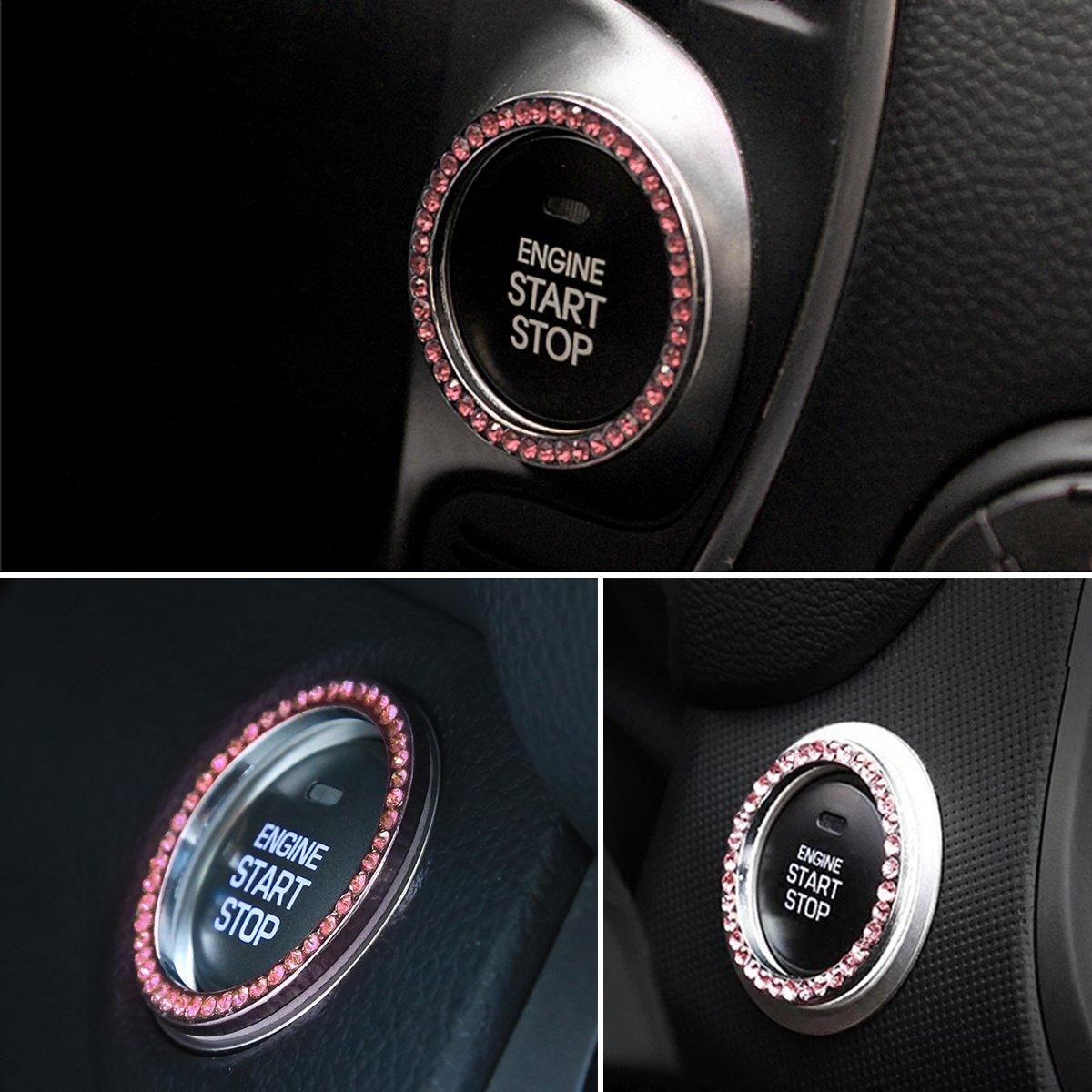 wei/ß WINOMO Auto Motor Start Stop Button Ring Kristall Bling Rhinestone Auto Dekor Zubeh/ör