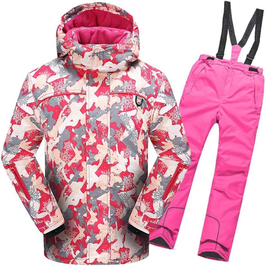 スキーウェア 男の子女の子暖かい防風防水スノーシューツフード付きスキージャケットパンツ2個セット 耐性ジャケット (色 : ピンク, サイズ : 122/128)