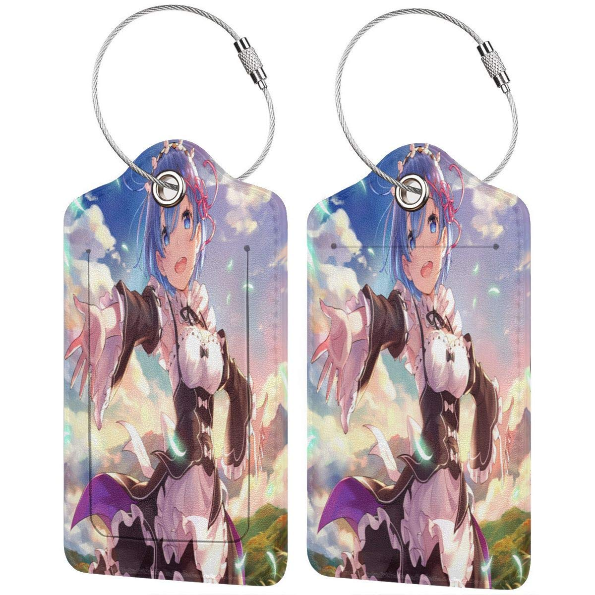 Re Zero-Rem Anime Cartoon Printed?Leather Luggage Tag /& Bag Tag With Privacy Cover 4 Kinds Of Specifications