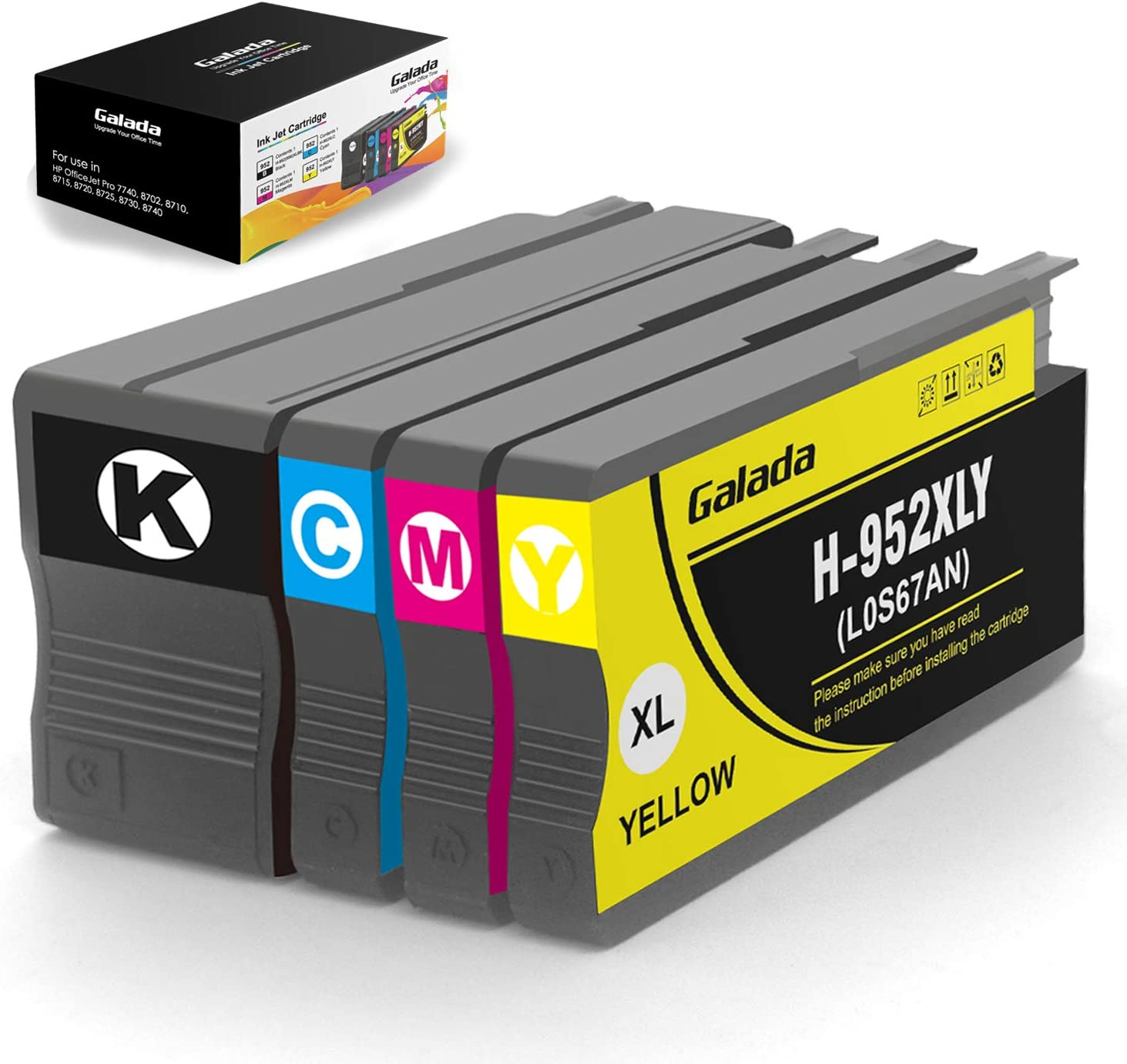 Galada Compatible Ink Cartridges Replacement for HP 952xl 952 XL Ink Cartridges to use with OfficeJet Pro 8710 8720 8702 8715 8740 7740 7720 Printers(1Black,1Cyan,1Magenta,1Yellow,4-Pack)