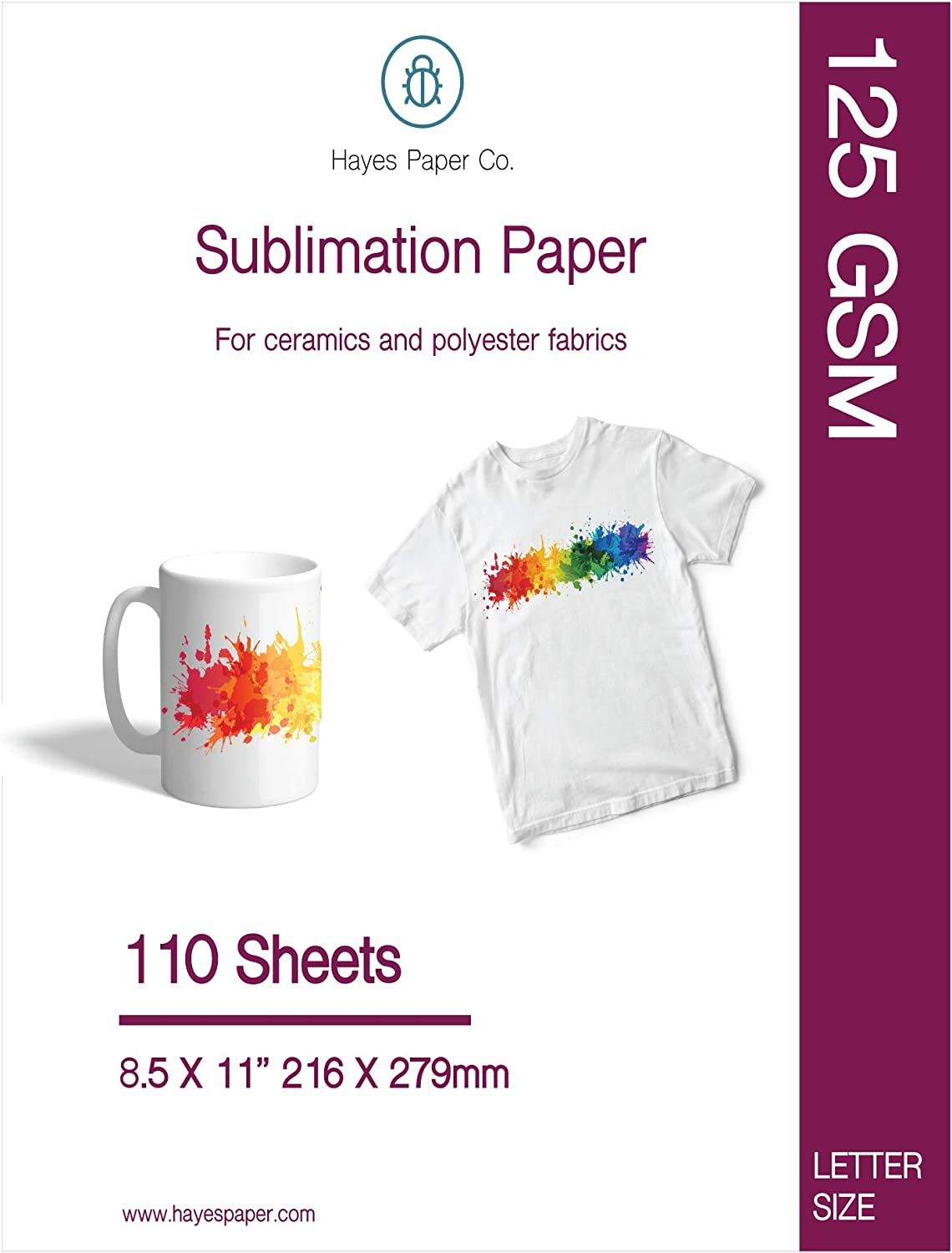 HAYES PAPER CO. Sublimation Paper for Heat Transfer onto Shirts, Ceramic Mugs, Works with All Inkjet Printers, 8.5x11 in. 110 Sheets, 125 GSM