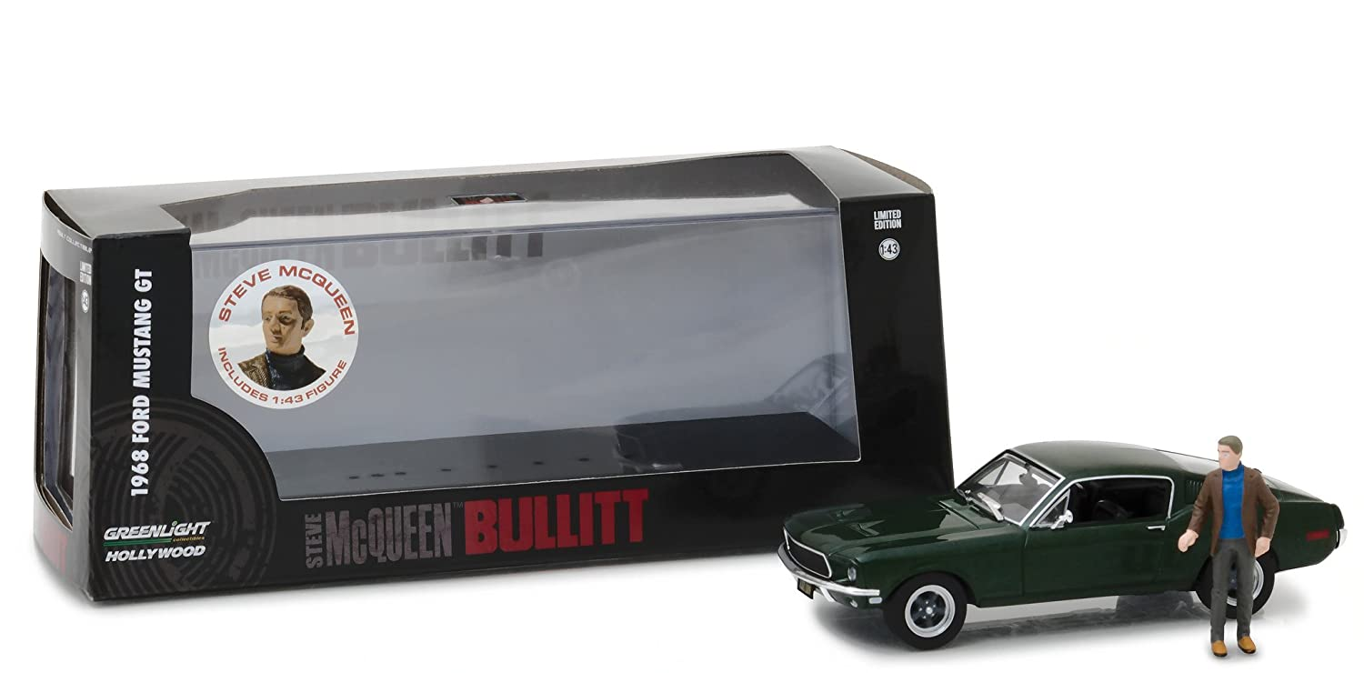 Greenlight 143 hollywood bullitt 1968 ford mustang gt fastback with steve mcqueen figure die cast vehicle