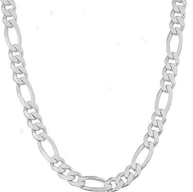 Vintage Sterling Silver Unisex 3 MM Figaro Link Chain Bracelet 7 14