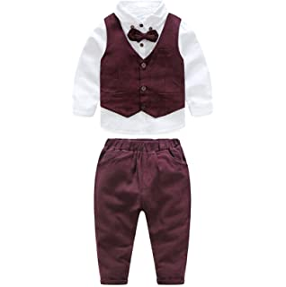 MHSH Toddler Boy Gentleman Suits Vest and Long Sleeve Shirts with Bowtie and Pants Boys 3Pcs Clothing Sets