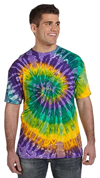 efa9ffa9066a2 tie dye Adult Tie-Dyed Cotton Tee - Mardi Gras Spiral - XL