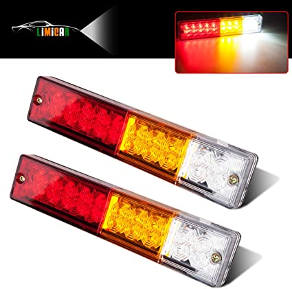 2 Pcs 30 LED Taillights Rear Tail Light Warning Lamp Rear Brake Lamp Stop Light Reverse Indicator Lamp for Trailer Truck Boat Waterproof 12V Red /& Amber