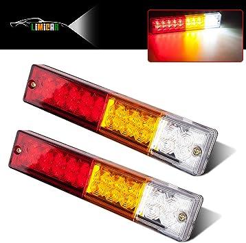 LIMICAR LED Trailer Lights Kit 12V Waterproof Square Stop Turn Tail Truck Lights w//Wire /& Bracket Red//Amber Side Fender Marker Lamps 3rd Brake ID Light Bar for Trailer Boat Camper Snowmobile RV