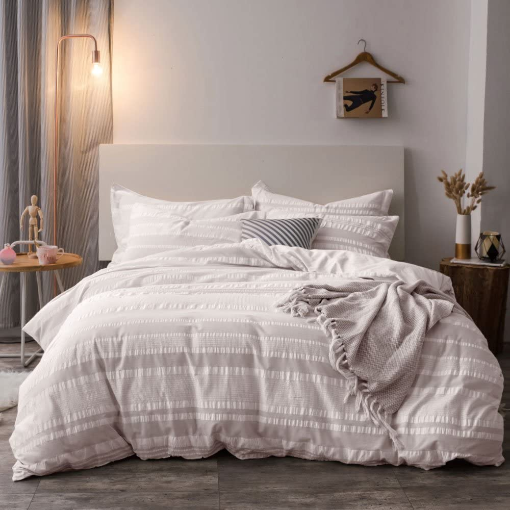 Lausonhouse Cotton Duvet Cover Set,Pure Cotton Yarn Dyed Seersucker Woven Stripe Duvet Cover Set- King