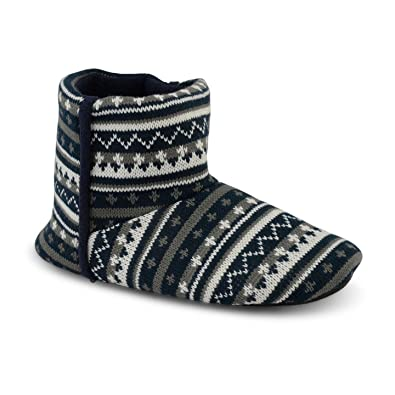 New Mens Dunlop Knitted Warm Fleece Lined Ankle Nordic Slipper ...