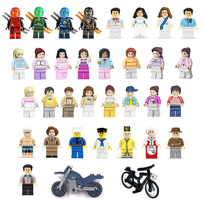 YYKMEI Minifigures Set of 32+2 Includes Building Bricks Community People with Figures Accessories Lego-Compatible Building Blocks Party Supplies Toys gifts