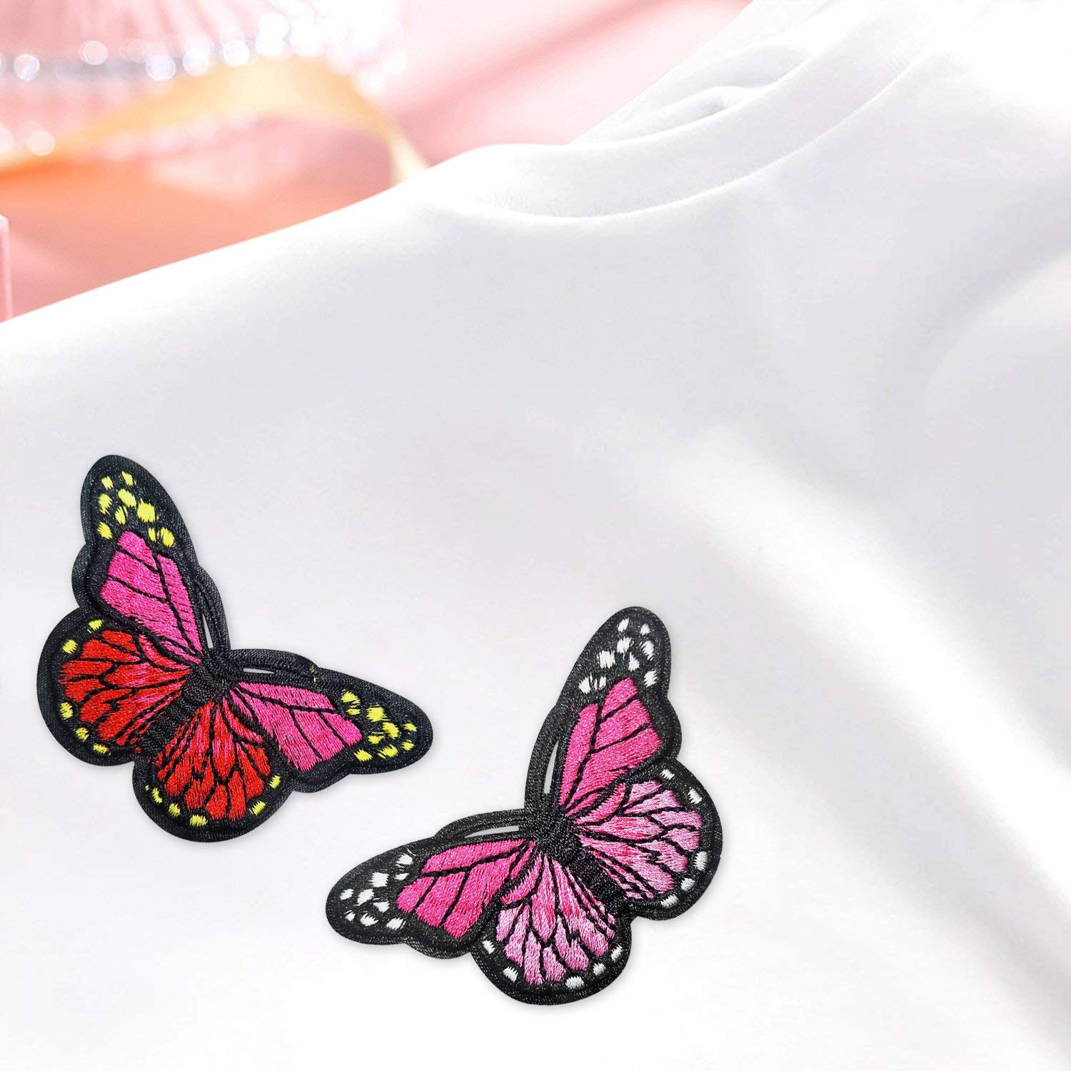 Jeans Bags Budicool Flowers Butterfly Iron on Patches Embroidery Applique Patches for Arts Crafts DIY Decor Jackets Pack of 34pieces Clothing