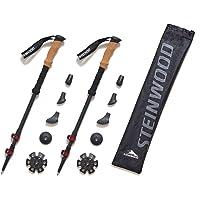 Steinwood Premium Carbon Wanderstöcke - Trekkingstöcke - verstellbar mit Teleskop und Klemmverschluss mit extra Gummipuffer und Tragebeutel