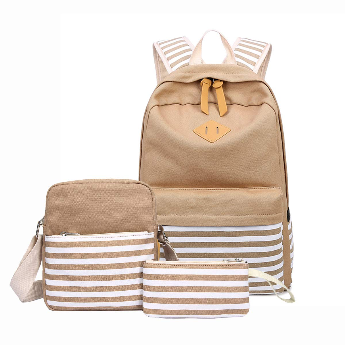 elecfan 3 Pack Schoolbag, Floral Printing Canvas Backpack Laptop Bag Purse/Shoulder Bag/Handbag Wallet Case for Kids Girls Boys Teen Rucksack (3 Pieces Set,Khaki Stripe)