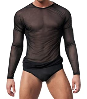 0337ee5a13904e WINDAY Men s Sexy Underwear T-Shirt Long Sleeve Mesh Top Undershirt  Nightwear