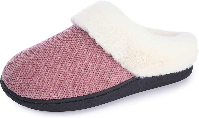 RockDove Women's Chenille Faux Fur Lined Clog Slipper