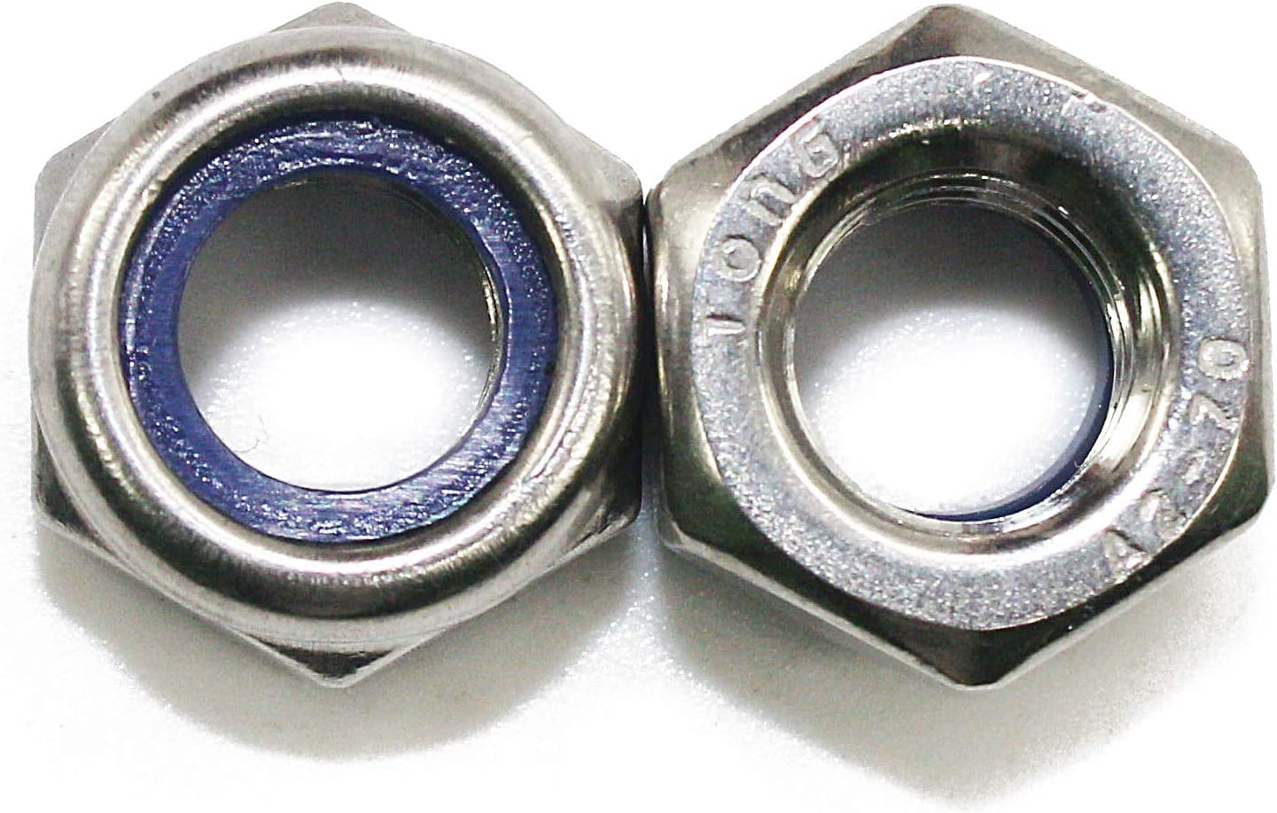 Hexagonal Safety Nuts with M12 x 1.75 mm Nylon Insert Pack of 10 304 Stainless Steel Smooth Finish