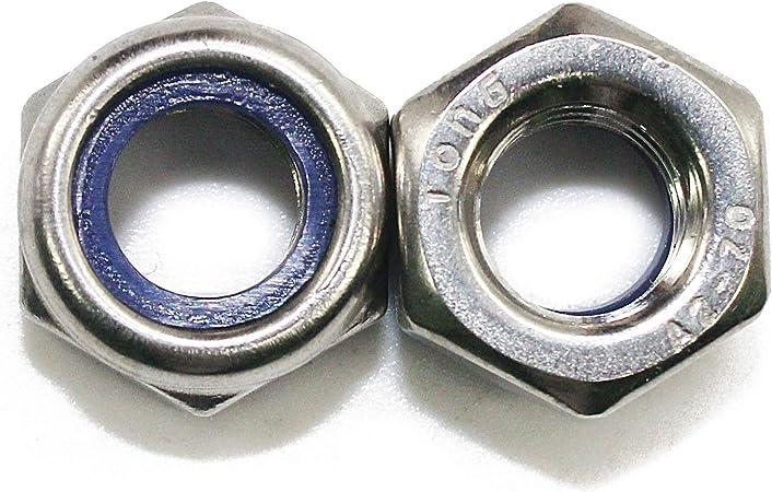 Stainless Steel 18-8 5mm x 0.8mm Nylon Insert Hex Lock Nut DIN 985 Qty 10