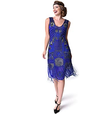 ca78209d Image Unavailable. Image not available for. Color: Unique Vintage 1920s  Style Royal Blue Beaded Fringe Bosley Flapper Dress
