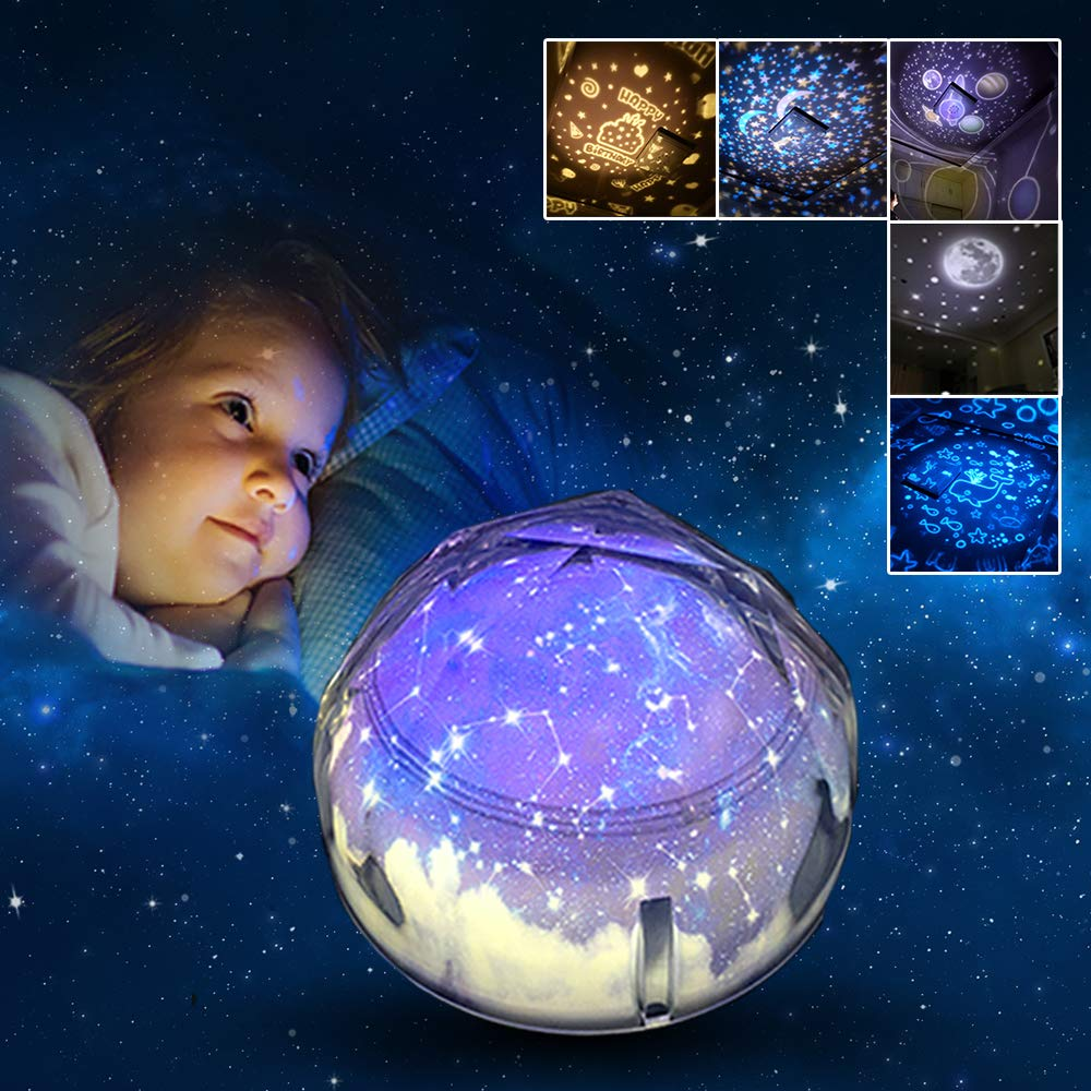 Gifts for 3-8 Year Old Boys Joy-Jam Star Night Light Star Lights Projector for Bedroom Constellation Rotating Baby Projector Home Decoration Toys for 2, 3, 4+ Year Old Girls Birthday Party Decor 5 Films UK-XKD-2