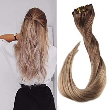 Full Shine 14 quot  7 Pieces 100g Ombre Clip in Remy Barzilian Human Hair  Extension Ombre 5b02181f4365