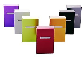 2 x Zigarettenetui Zigarettenbox KANSAS Alu Metall Grau Violett 20er Packung