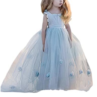 45c71a40a3 Portsvy Light Blue Long Girls Dresses Blue Ball Gowns Toddler Pageant Dress  FB67