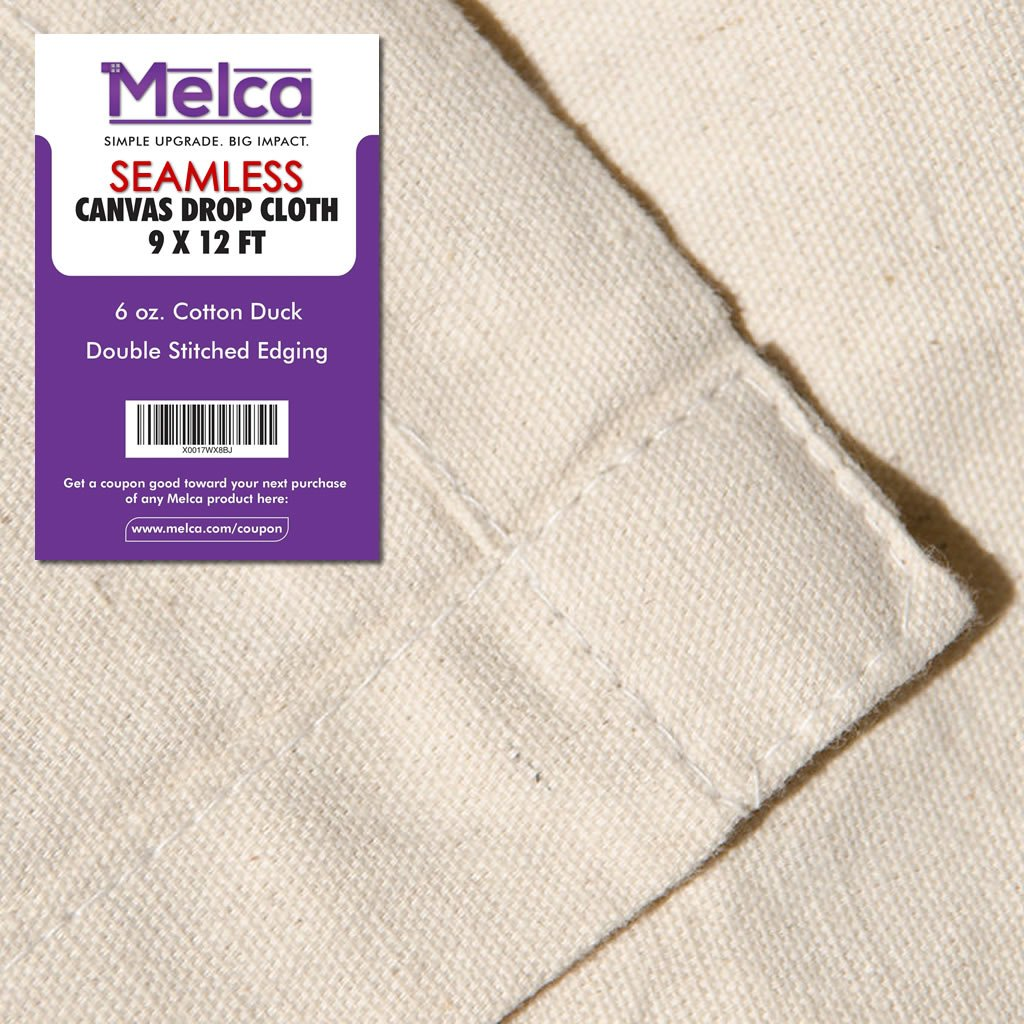 Drop Cloth Tarp Art Supplies - 9x12 Finished Size, Seams Only On The Edges, New Unmarked Fabric, Cotton Duck Fabric - Be Confident You Have The Canvas You Need.
